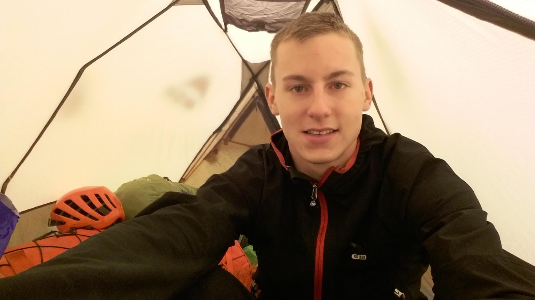 Am Abend im Zelt, endlich geht es los