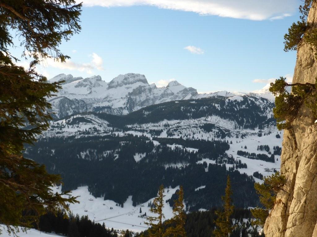 Aussicht auf die Churfirsten und das Skigebiet Wildhaus