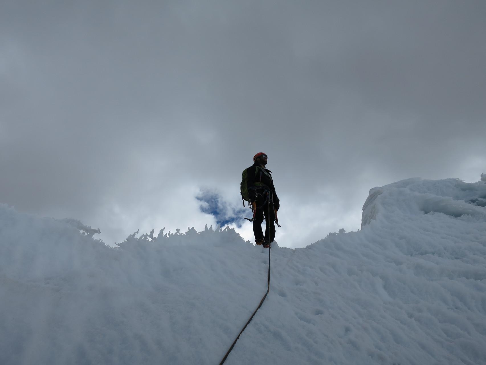 Damian am Ausstieg, doch noch sind wir nicht auf dem Gipfel