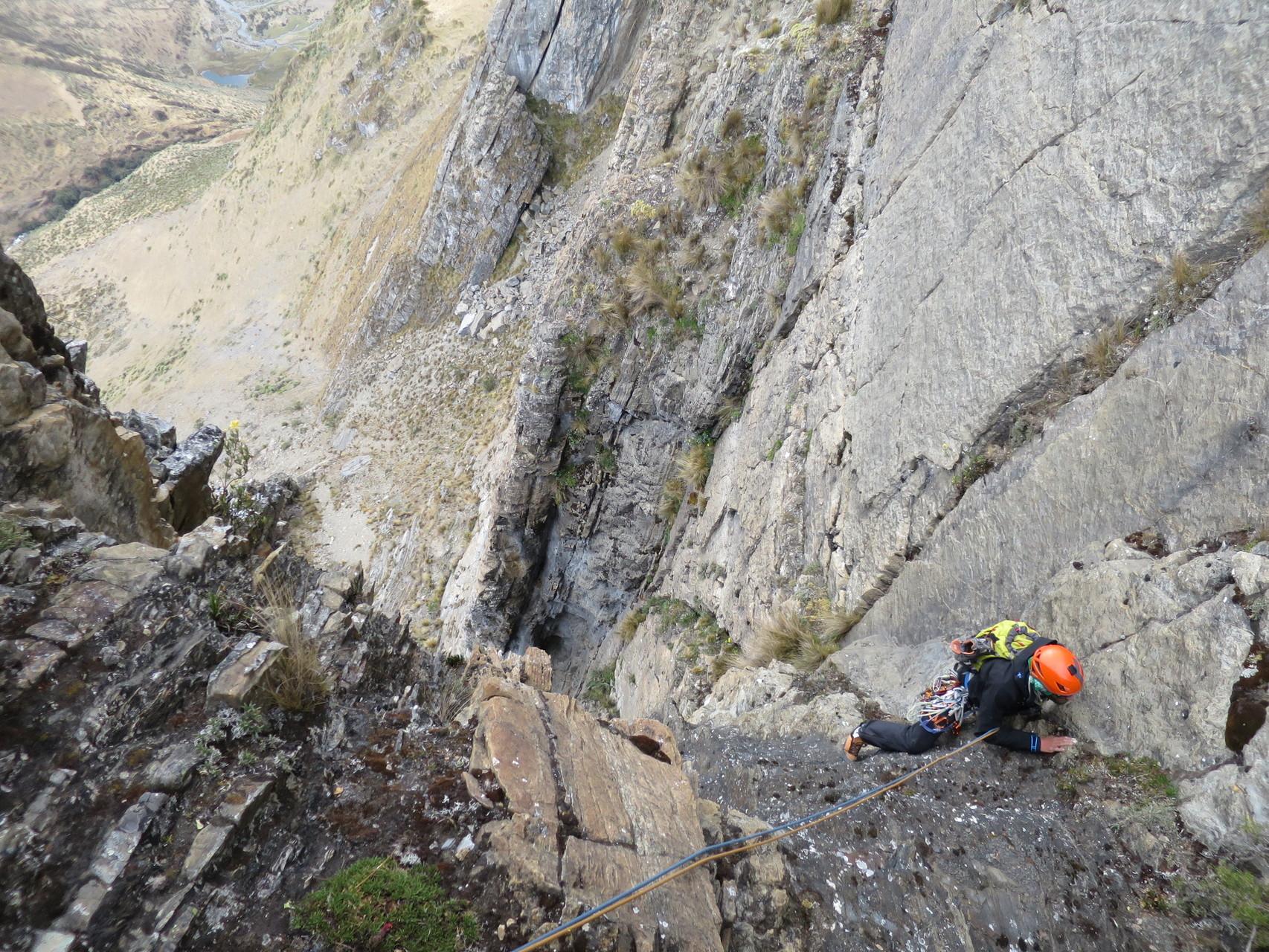 Damian am Ausstieg der 50m langen Schlüssellänge