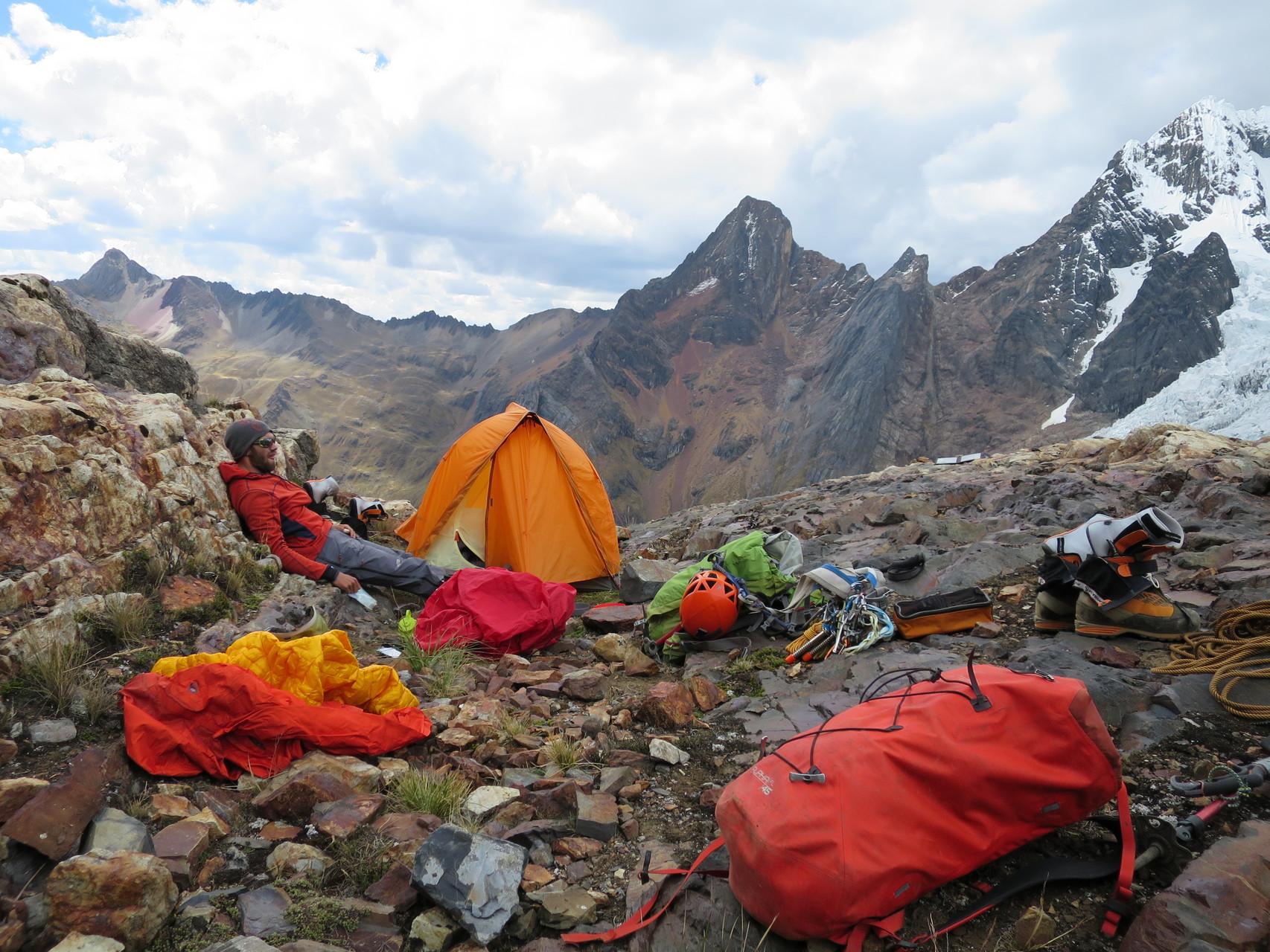 Zurück beim Zelt, 1400hm auf dieser Höhe sind doch etwas anstrengend