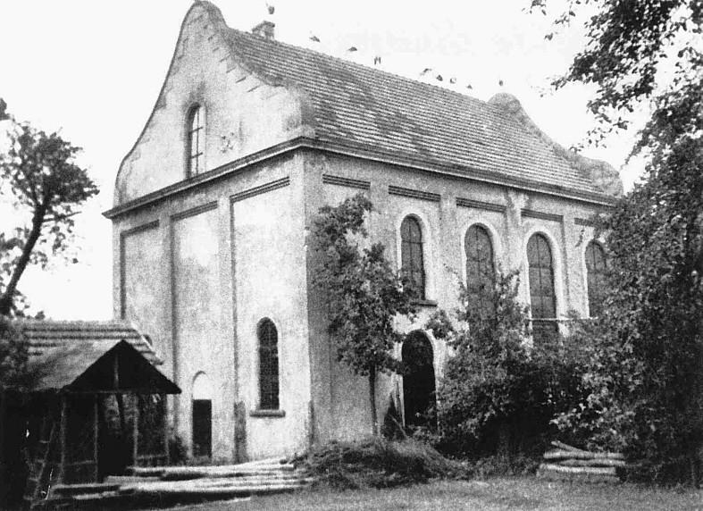Synagoge von der Rückseite mit rastenden Störchen im Sommer 1838