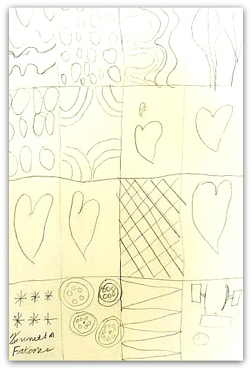 Quilt Drawing of Car Parts