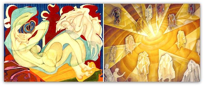 Large watercolour paintings by Sveva Caetani