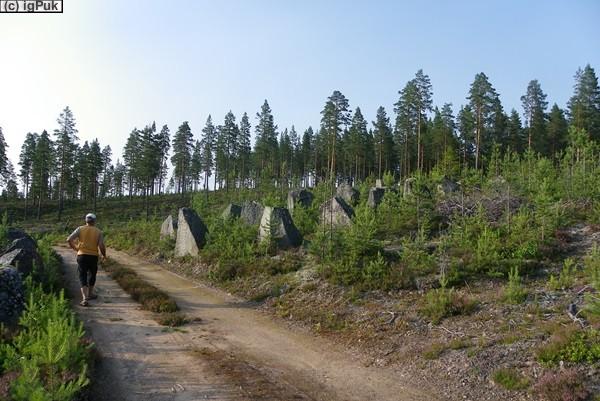 Panzersperren bei Ersbo, Grenze Norwegen ca. 10 km