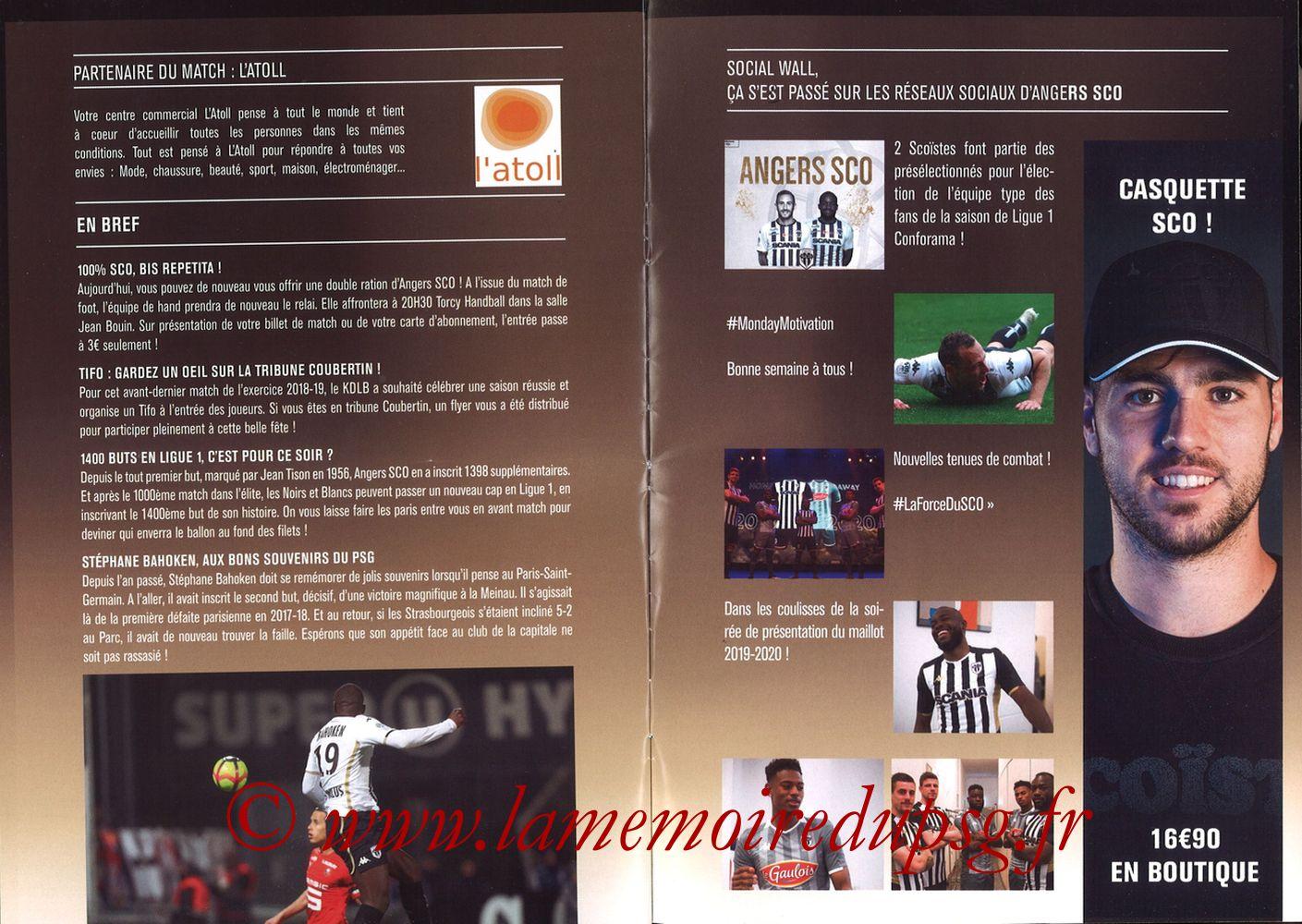 2019-05-11  Angers-PSG (36ème L1, Programme officiel N°18) - Pages 10 et 11