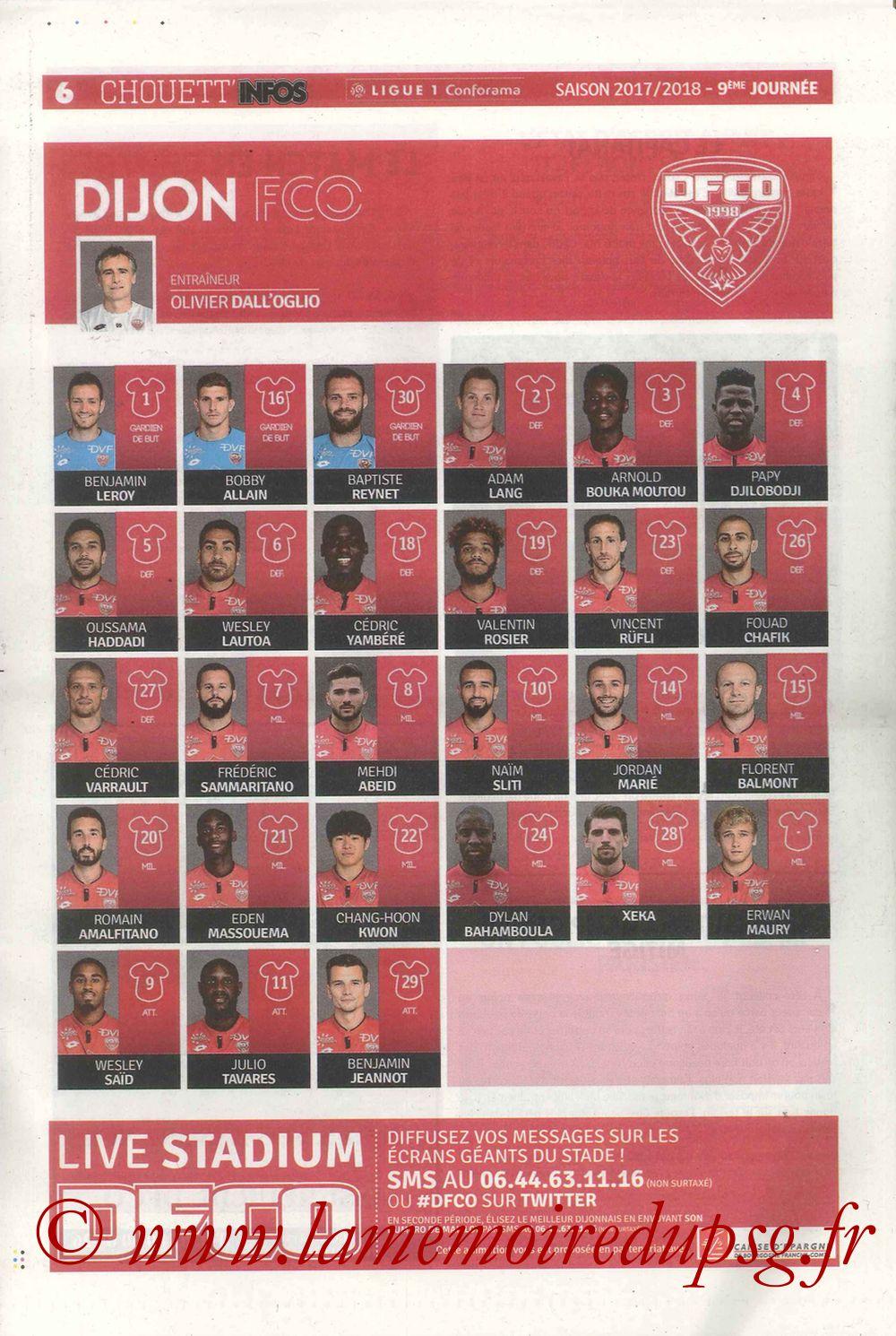 2017-10-14  Dijon-PSG (9ème L1, Chouett'Infos N°5) - Page 06