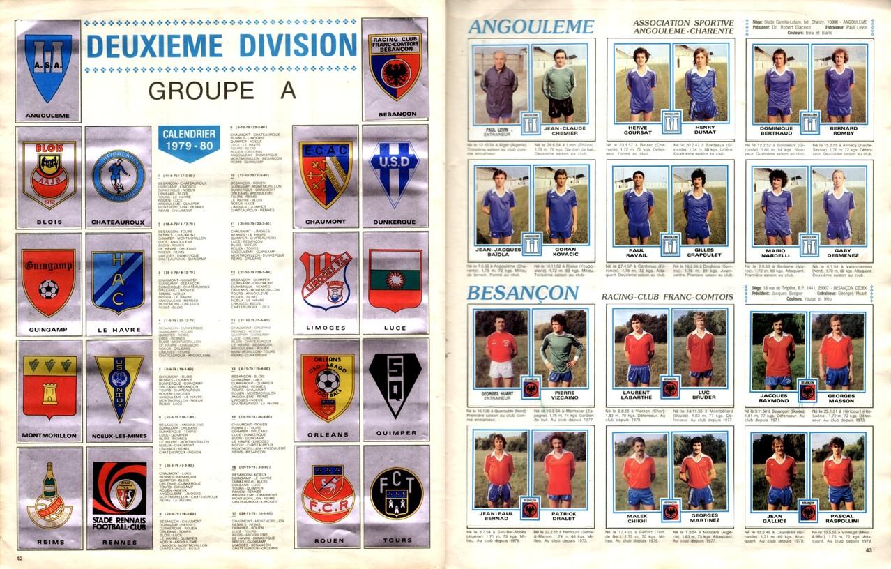 1979-80 - Panini 1980 - Pages 42 et 43 - Ecussons Deuxième Division Groupe A + AS Angoulème et RC Besançon