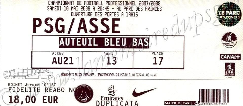 2008-05-10  PSG-Saint Etienne (37ème L1)