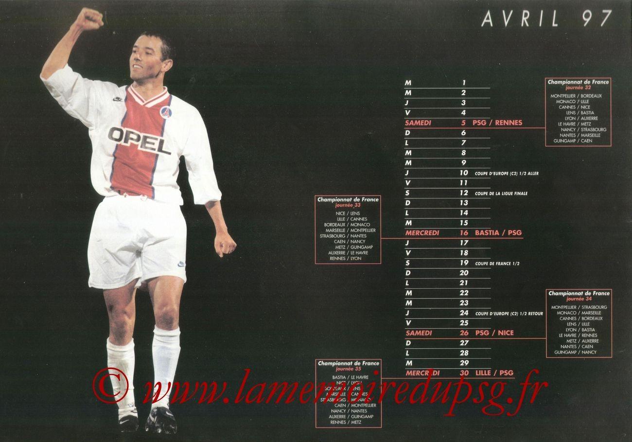 Calendrier PSG 1996-97 - Page 09 - Paul LE GUEN