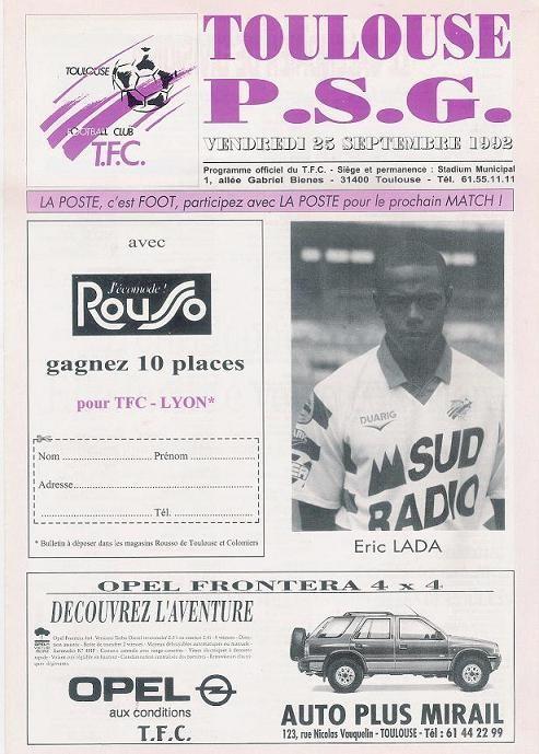 1992-09-25  Toulouse-PSG (8ème D1, Programme officiel)