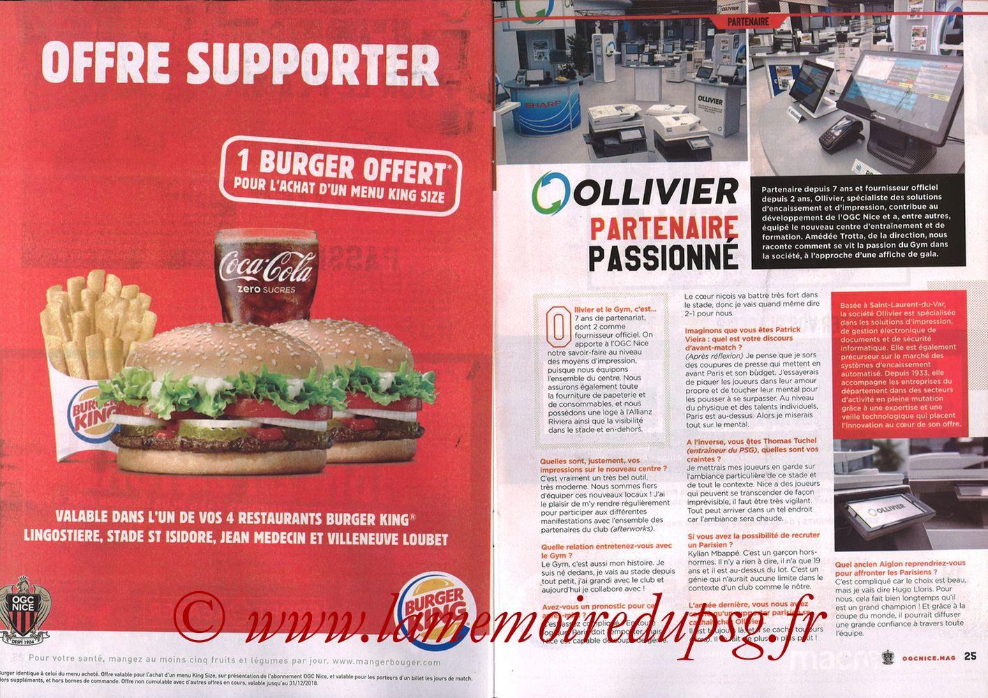 2018-09-29  Nice-PSG (8ème L1, Ogcnice.Mag N°313) - Pages 24 et 25