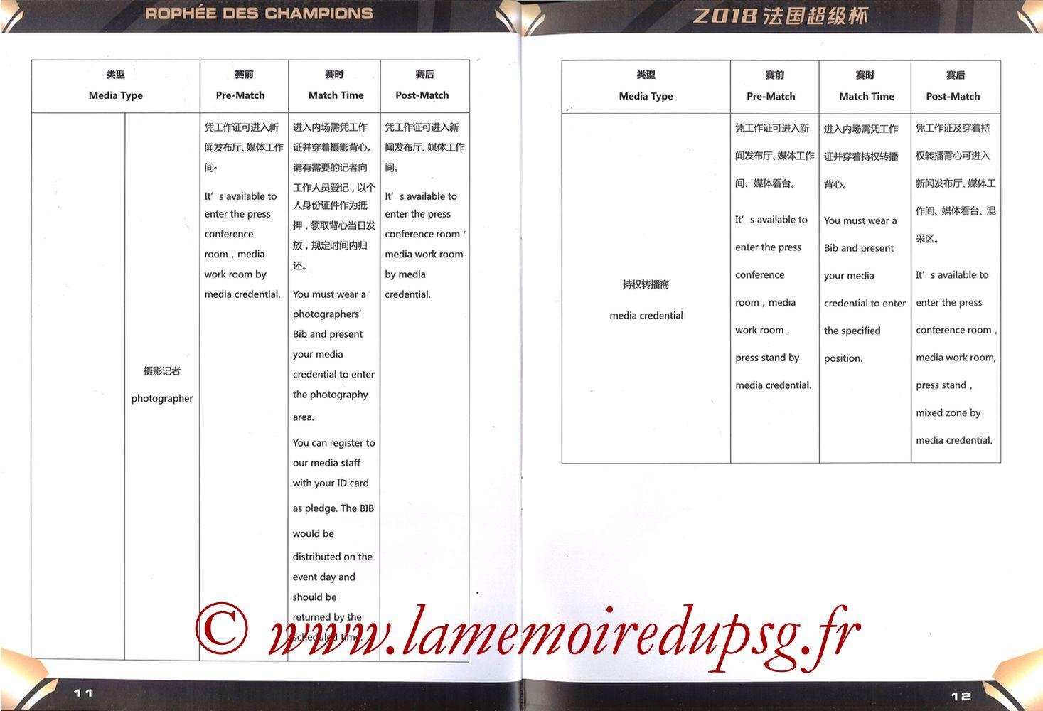 2018-08-04  PSG-Monaco (Trophée des Champions à Shenzhen, Media Guide) - Pages 01 et 02