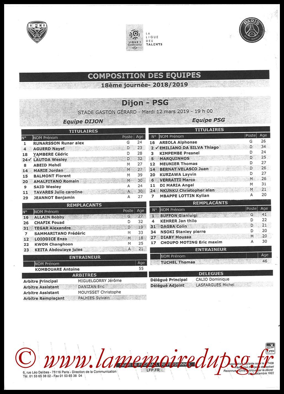 2019-03-12  Dijon-PSG (18ème L1 en retard, Feuille de match)