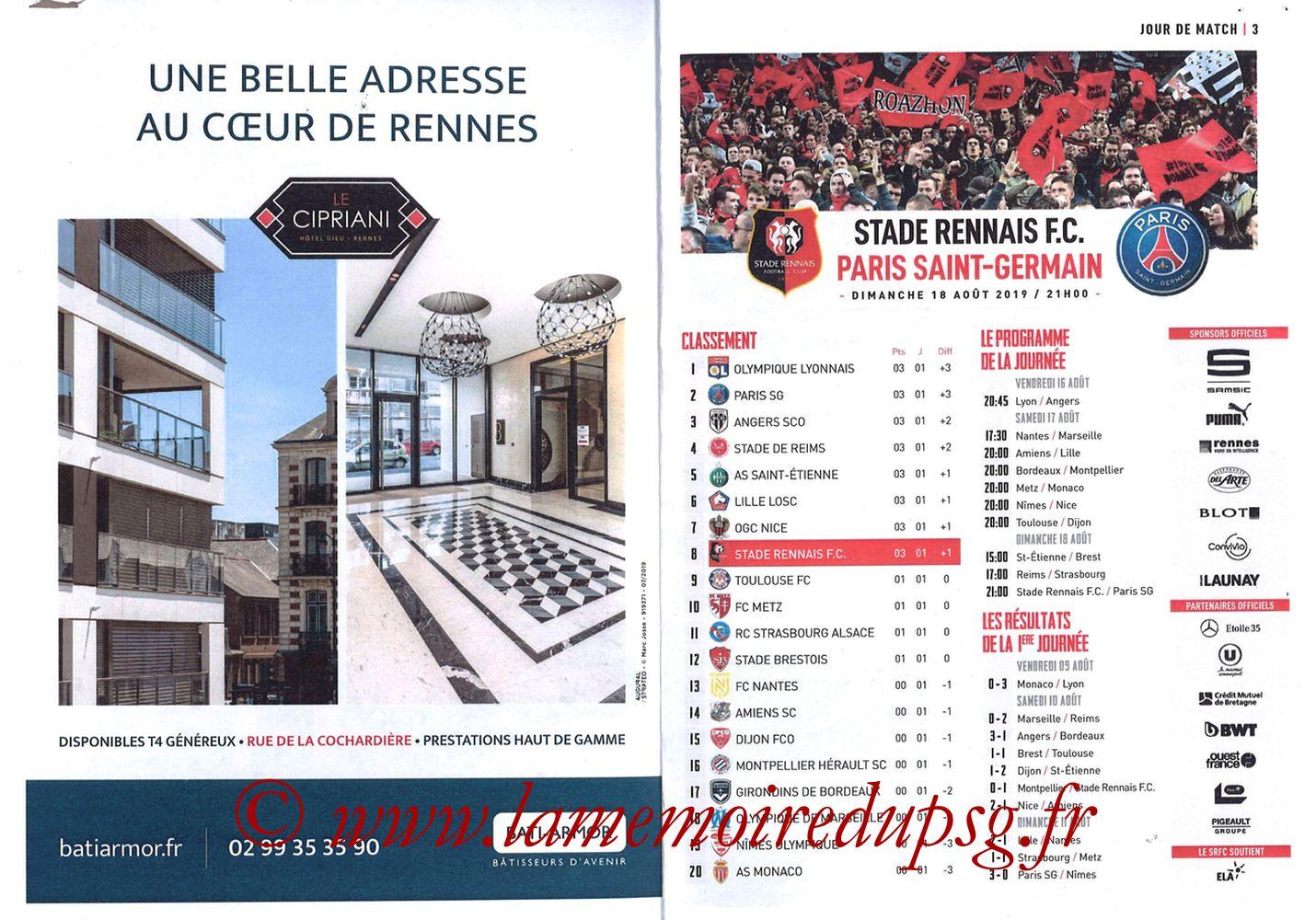 2019-08-18  Rennes-PSG (2ème L1, Programme officiel) - Pages 02 et 03