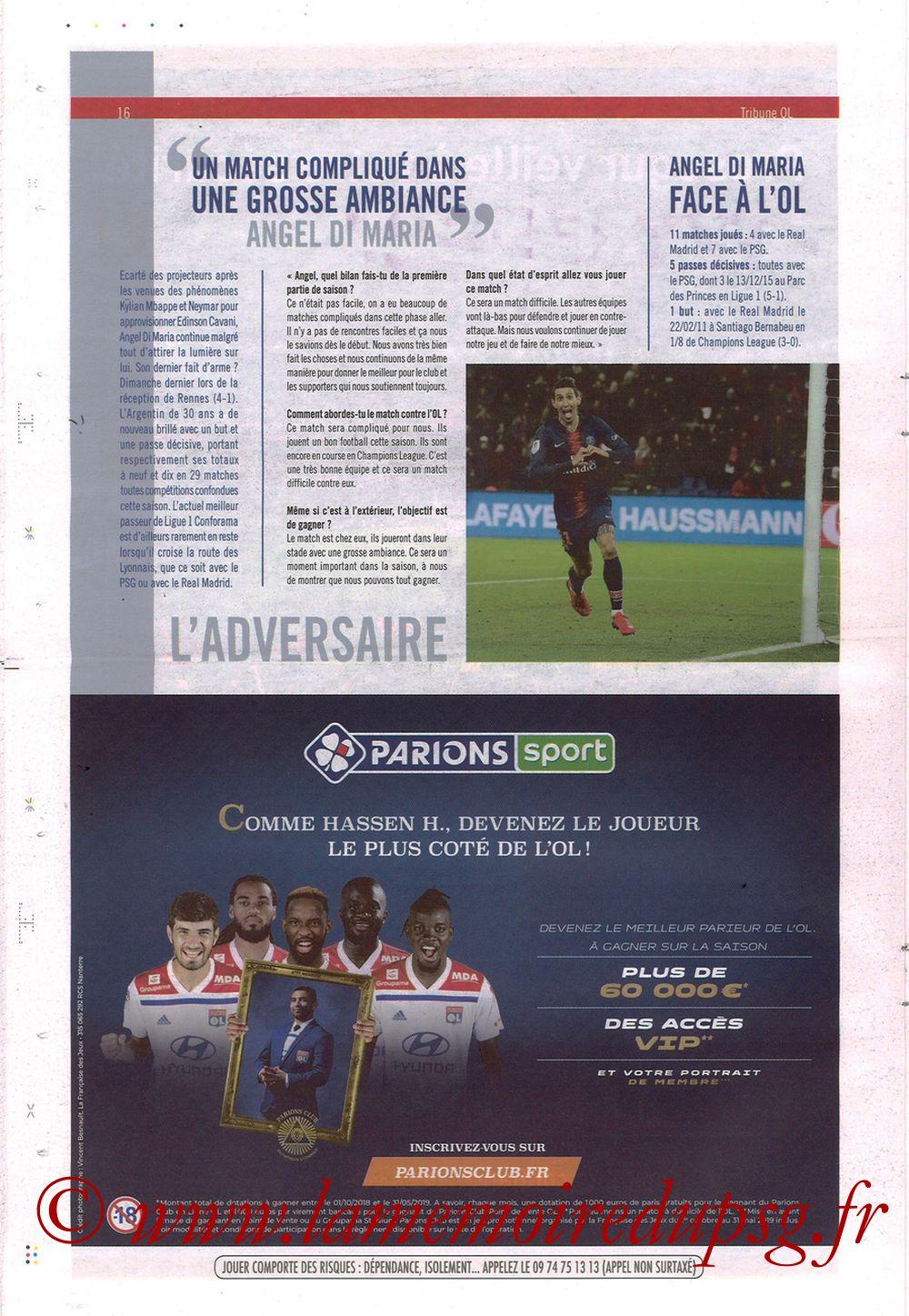 2019-02-03  Lyon-PSG (23ème L1, La Tribune OL N°270) - Page 16