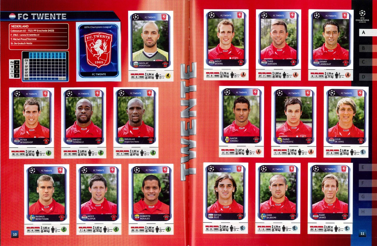 2010-11 - Panini Champions League - Pages 10 et 11 - FC Twente