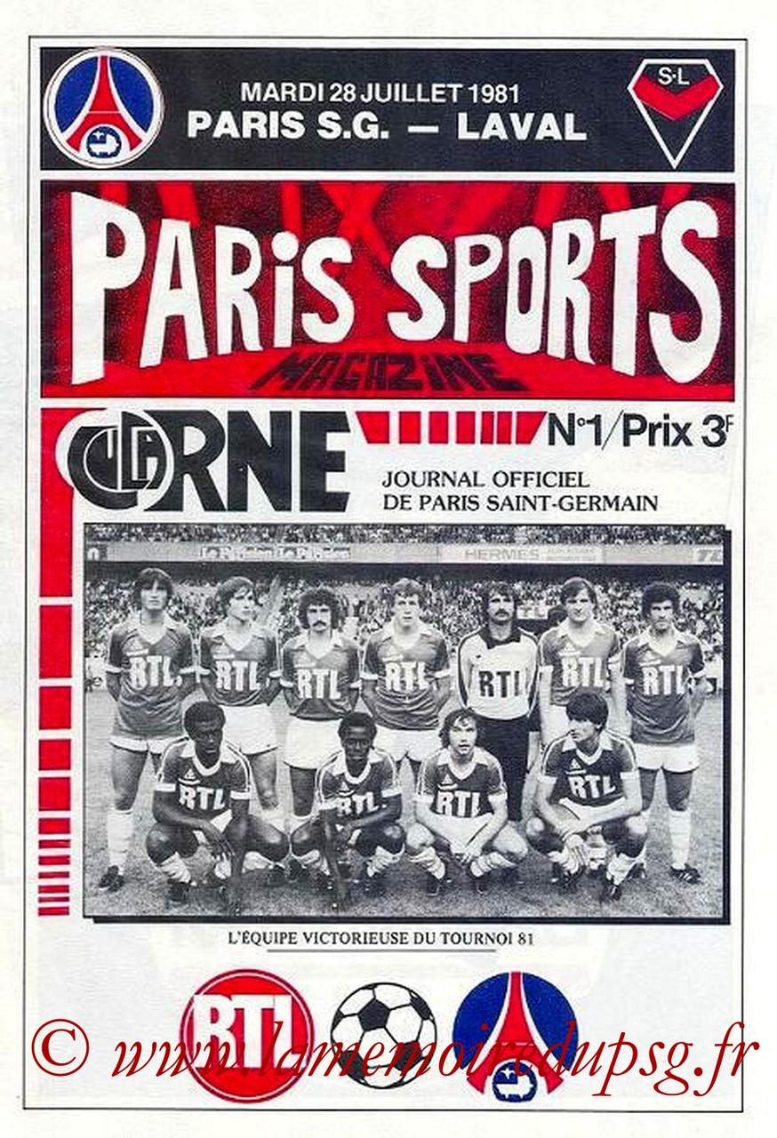 1981-07-28  PSG-Laval (2ème D1, Paris Sports Magazine N°1)