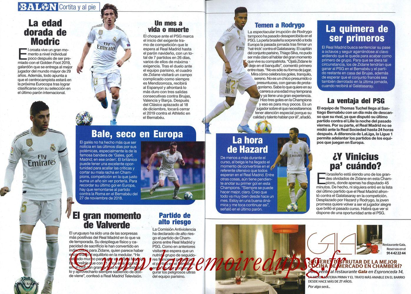 2019-11-26  Real Madrid-PSG (5ème C1, El Balon in the Game N°74) - Pages 26 et 27