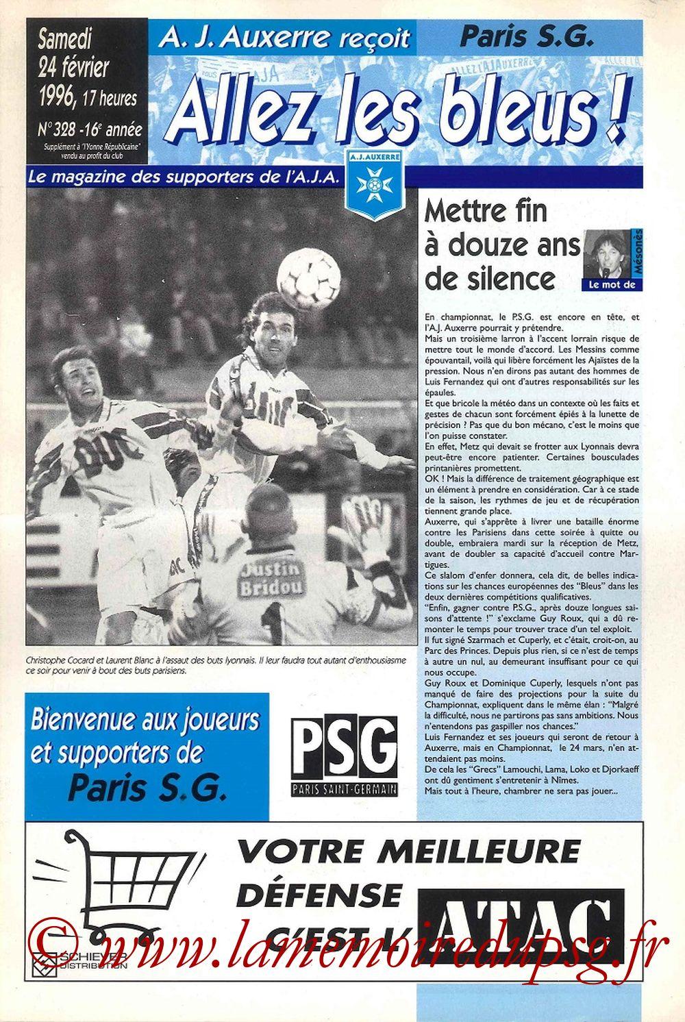 1996-02-24  Auxerre-PSG (8ème CF, Allez les bleus N°328)