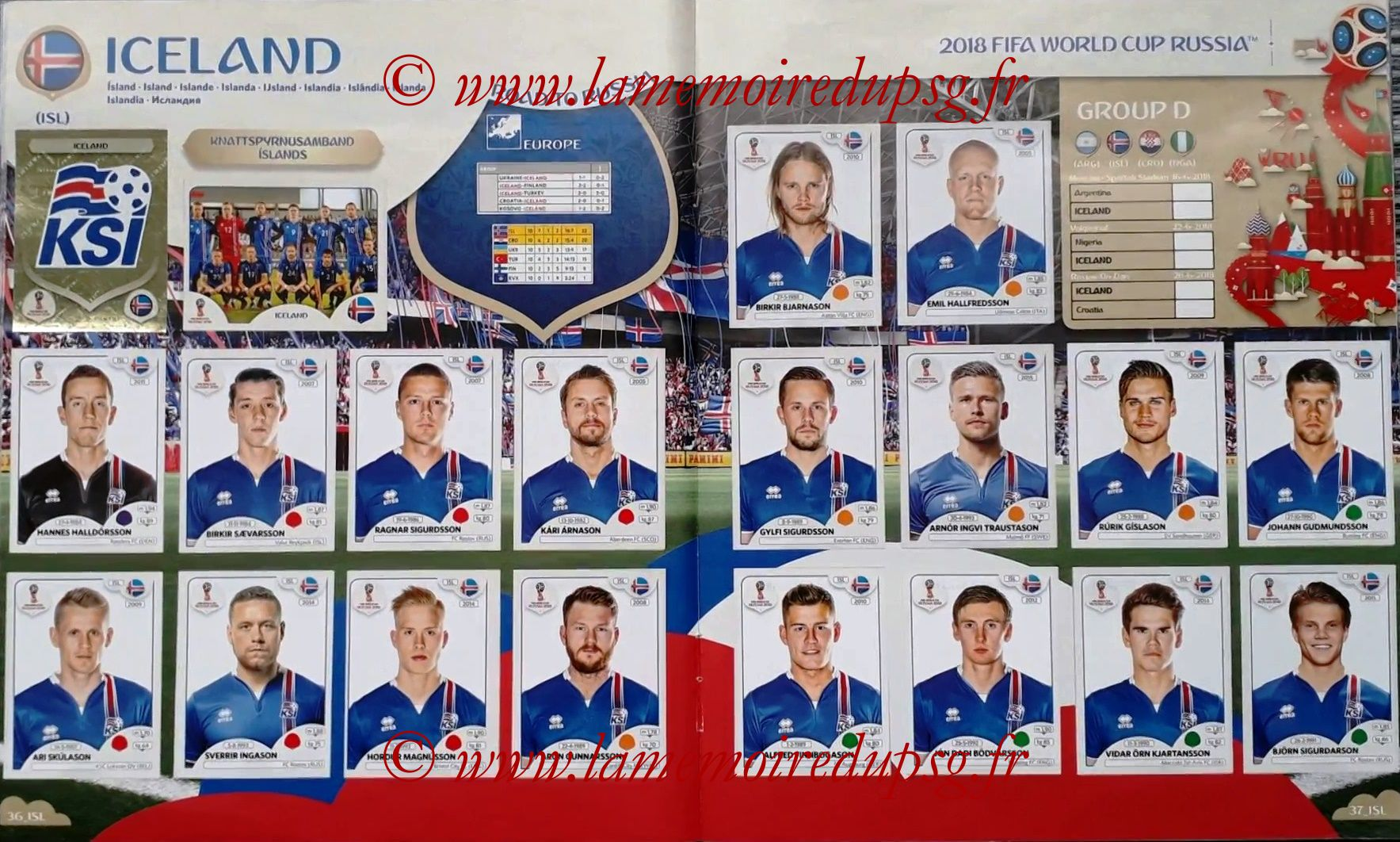 2018 - Panini FIFA World Cup Russia Stickers - Pages 36 et 37 - Islande