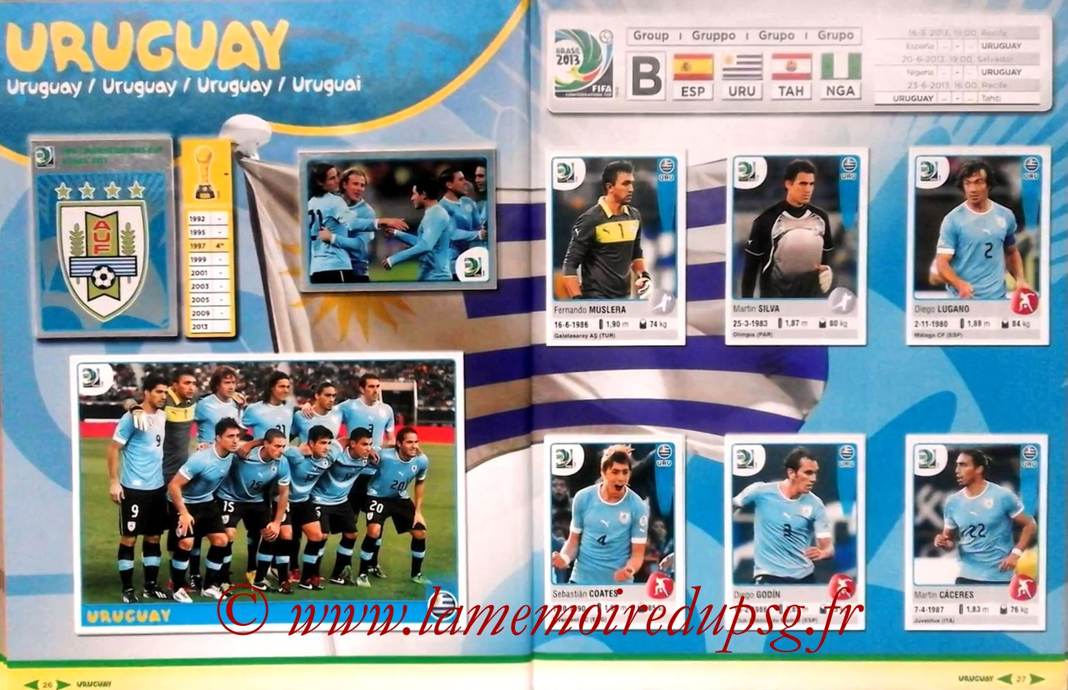 2013 - Panini Confederations Cup Brasil Stickers - Pages 26 et 27 - Uruguay