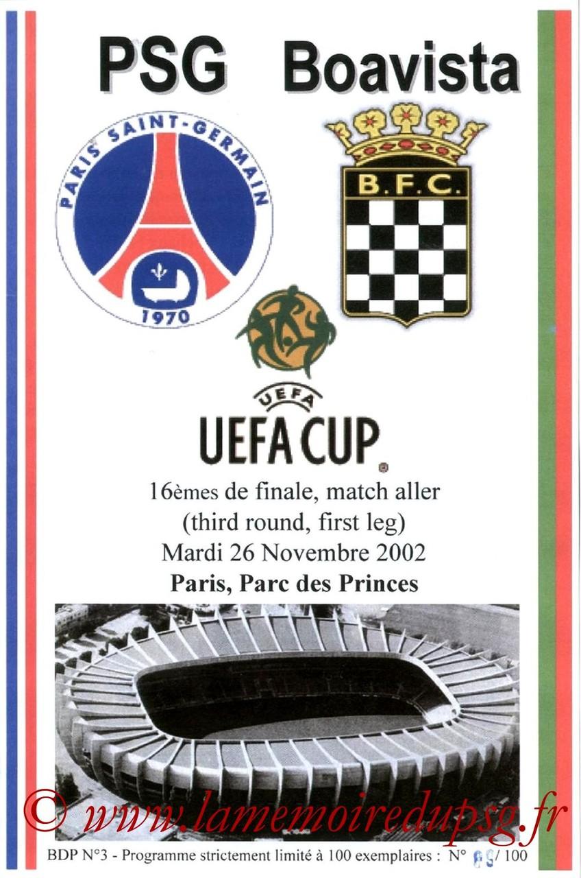 2002-11-26  PSG-Boavista Porto (16ème Finale Aller C3, Programme pirate)