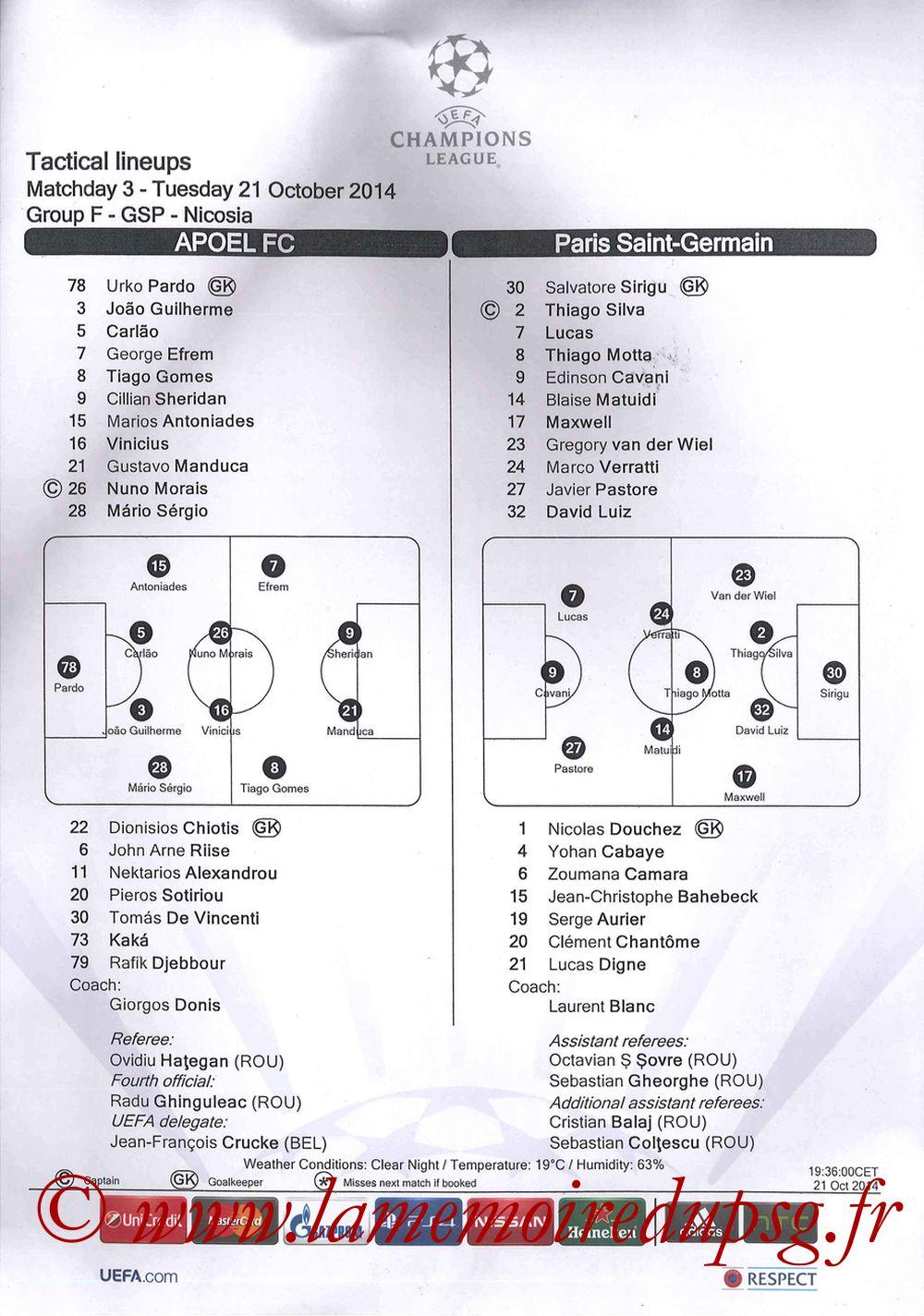 2014-10-21  Apoel Nicosie-PSG (3ème Poule C1, Feuille de match)