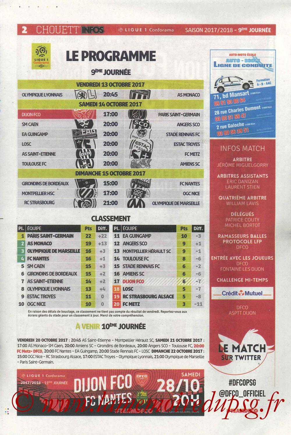 2017-10-14  Dijon-PSG (9ème L1, Chouett'Infos N°5) - Page 02