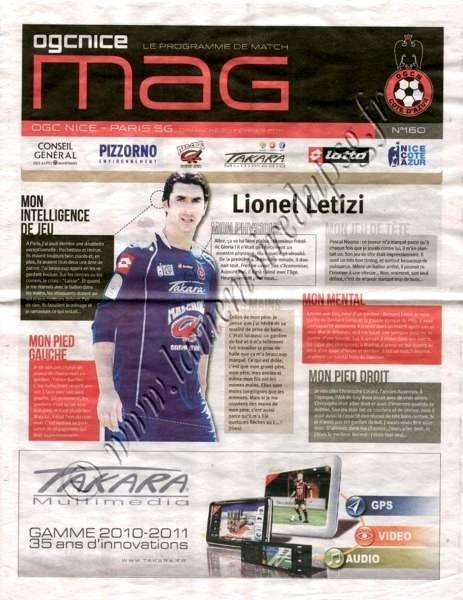 2011-02-20  Nice-PSG (24ème L1, OGCN mag N°160)
