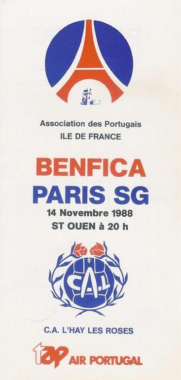 1988-11-14  Benfica-PSG (Amical à Saint Ouen, Programme officiel)