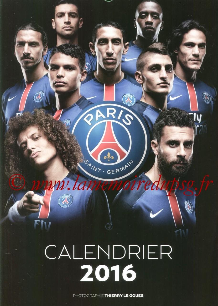 Calendrier PSG 2016 - Couverture