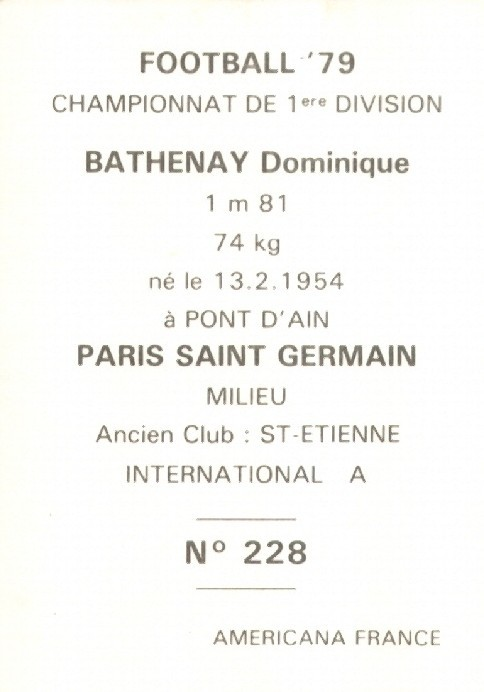 N° 228 - Dominique BATHENAY (Verso)