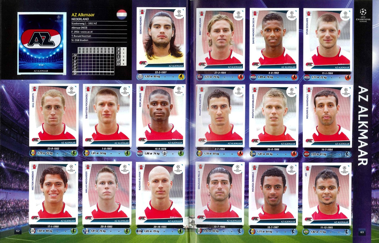 2009-10 - Panini Champions League - Pages 62 et 63 - AZ Alkmaar