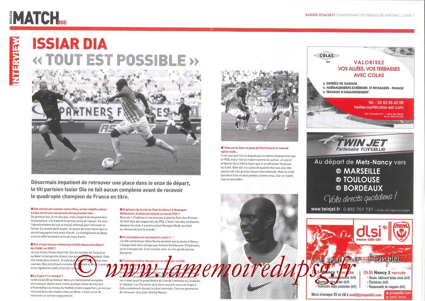 2016-10-15  Nancy-PSG (9ème L1, Feuille de match N°5) - Pages 4 et 5