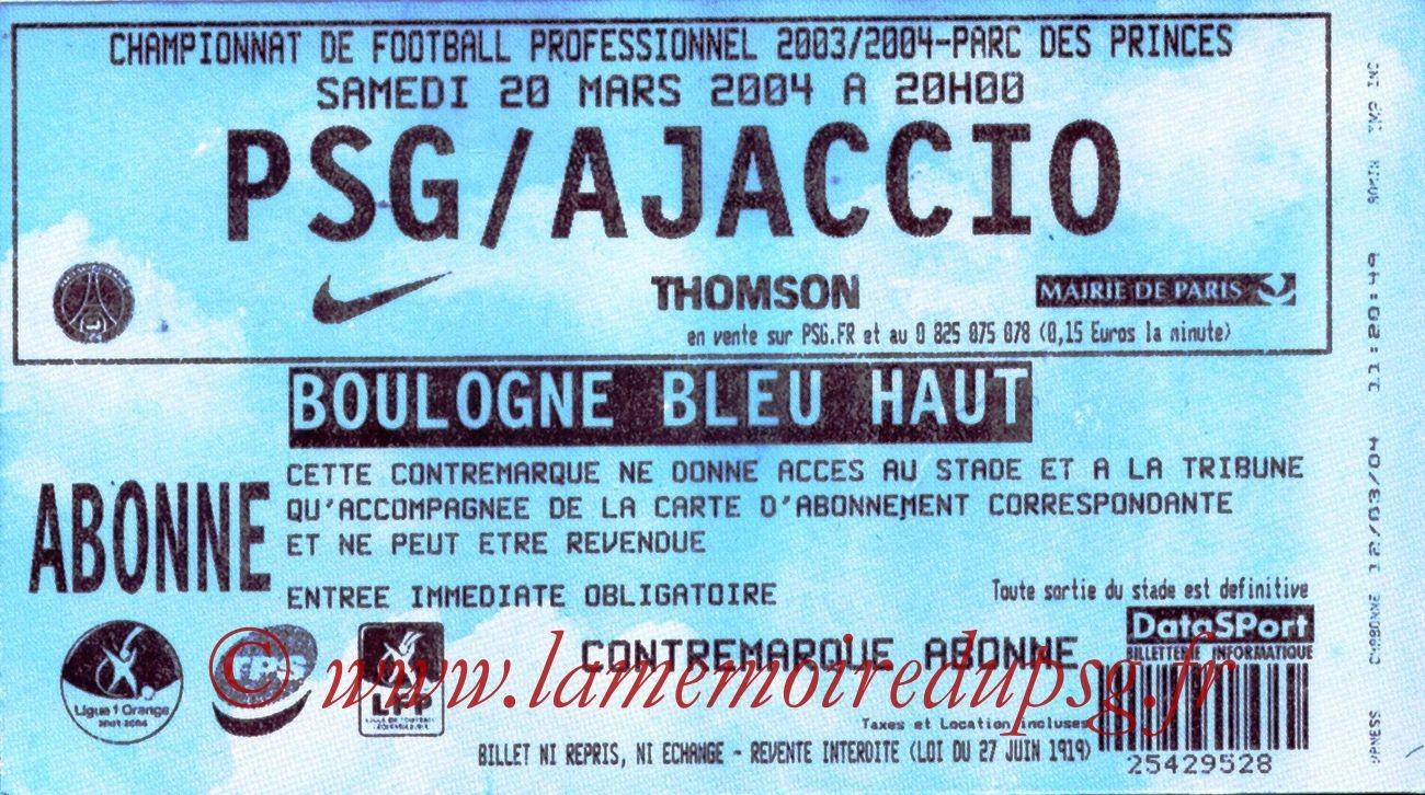 2004-03-20   PSG-Ajaccio (29ème L1)