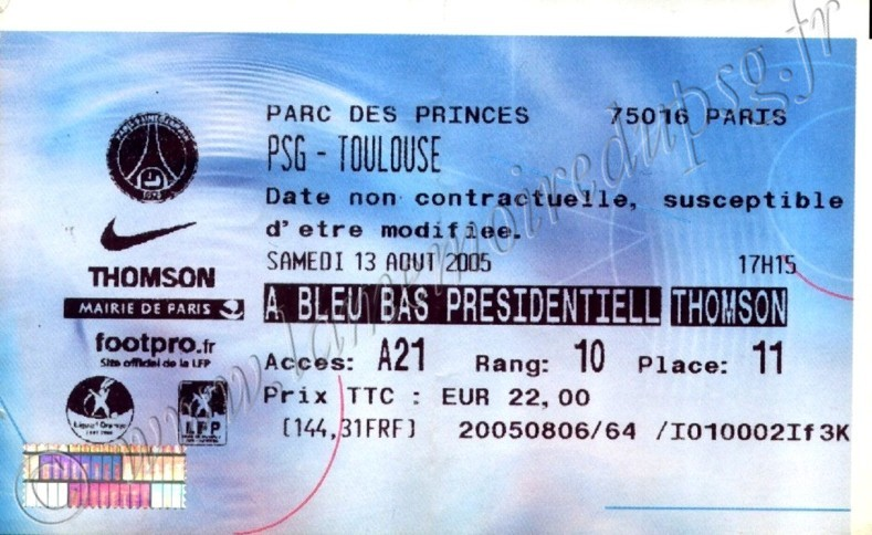 2005-08-13  PSG-Toulouse (3ème L1, Billetel)