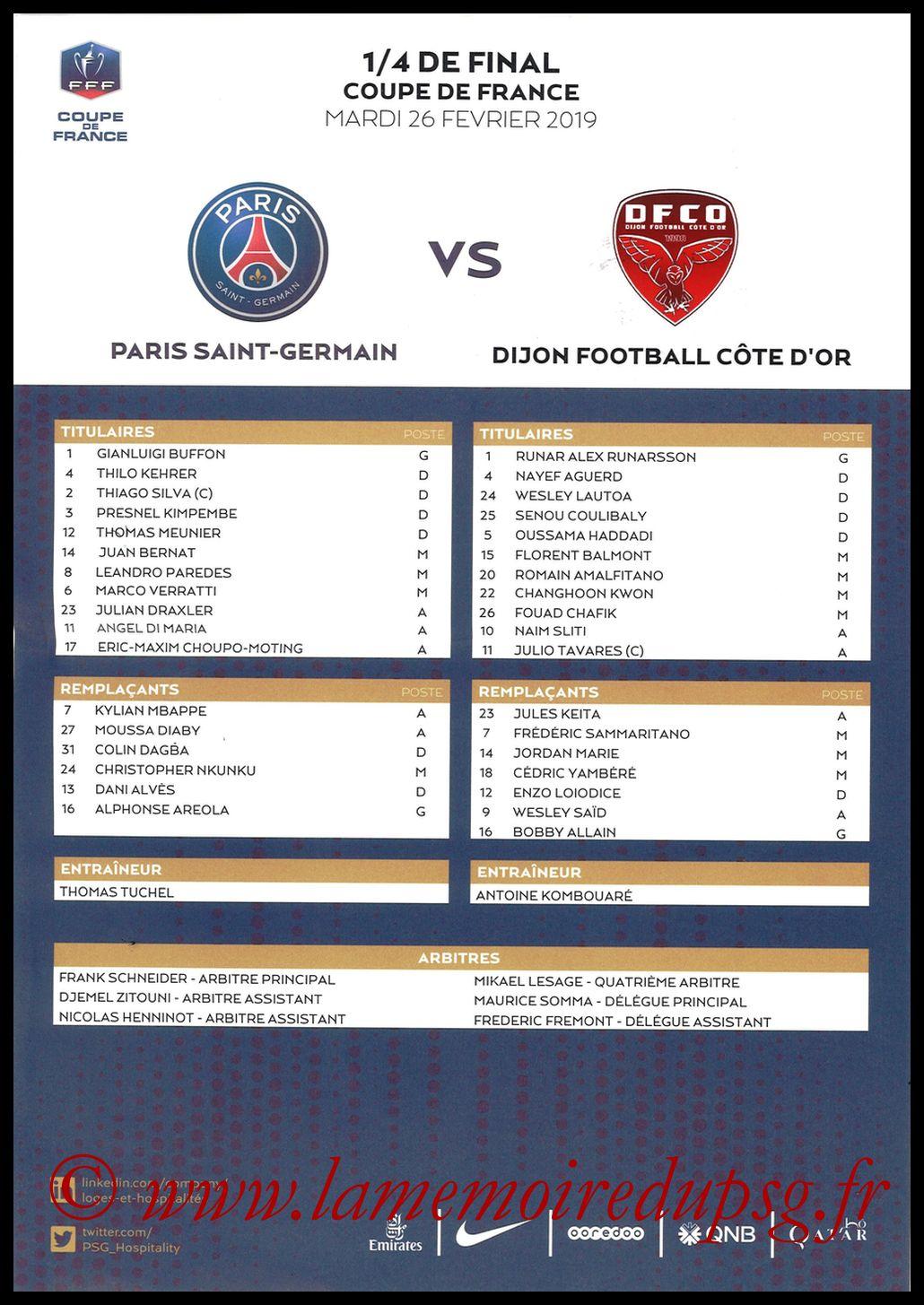 2019-02-26  PSG-Dijon (Quart CF, Feuille de match)