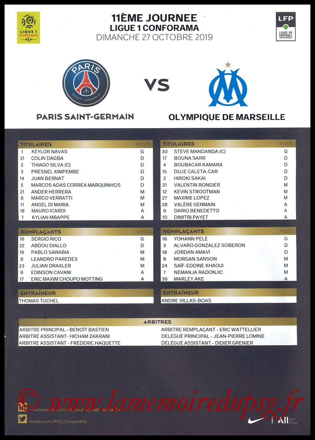 2019-10-27  PSG-Marseille (11ème L1, Feuille de match)