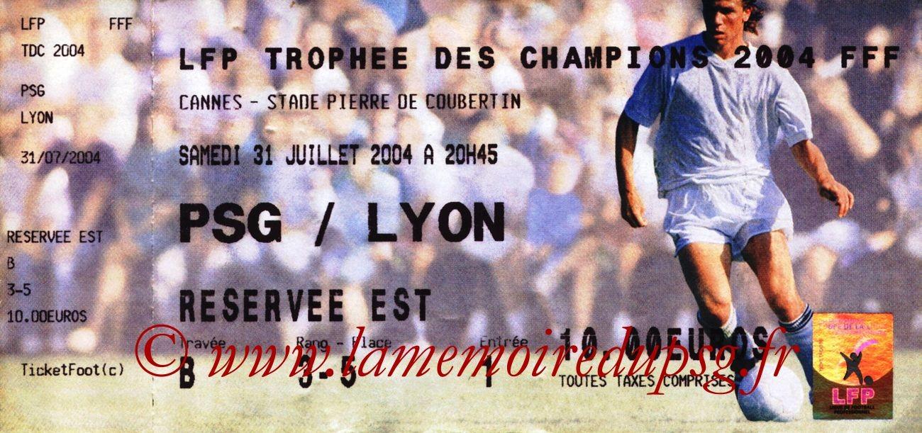 2004-07-31  PSG-Lyon (Trophee des champions à Cannes)