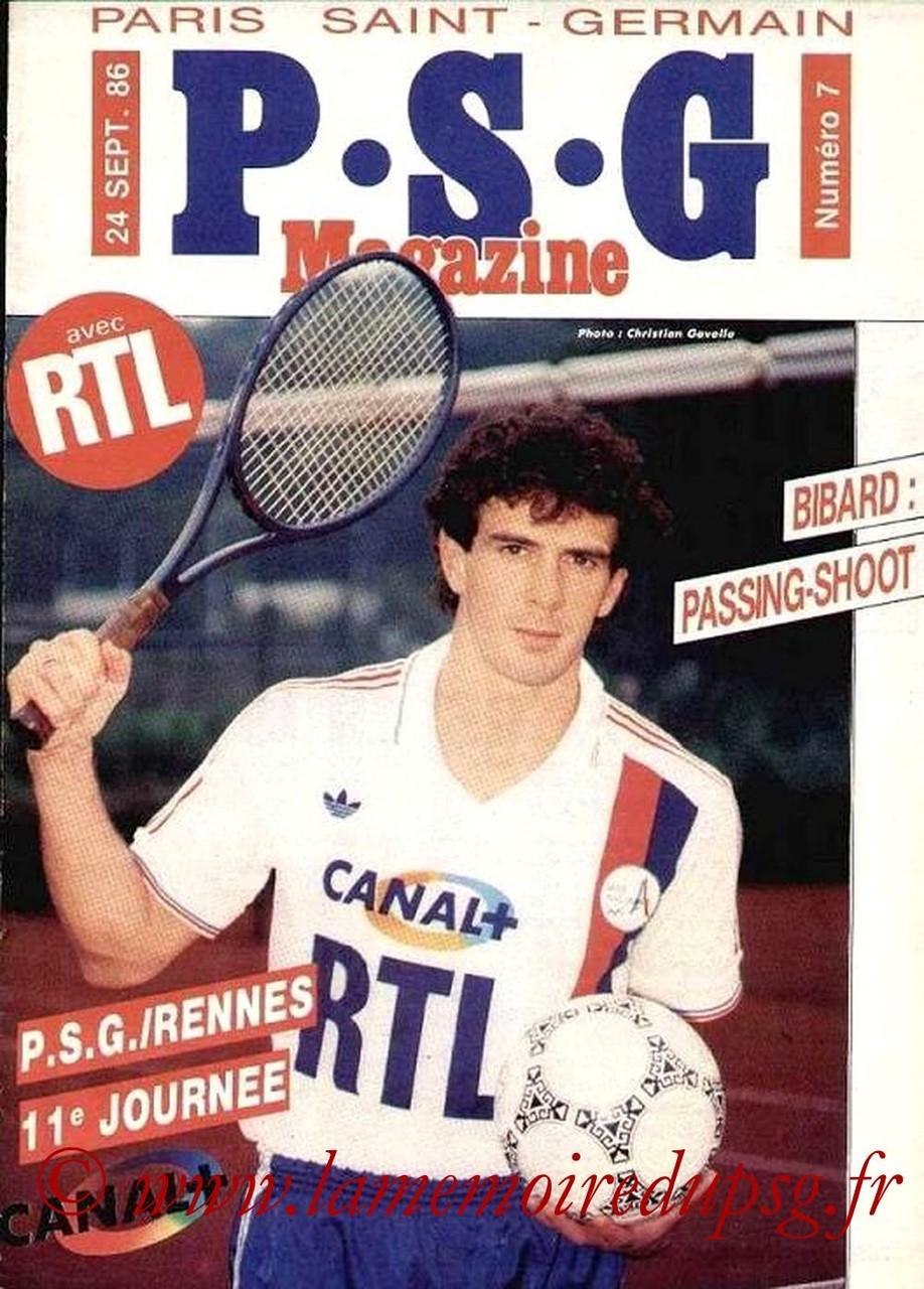 1986-09-24  PSG-Rennes (11ème D1, PSG Magazine N°7)