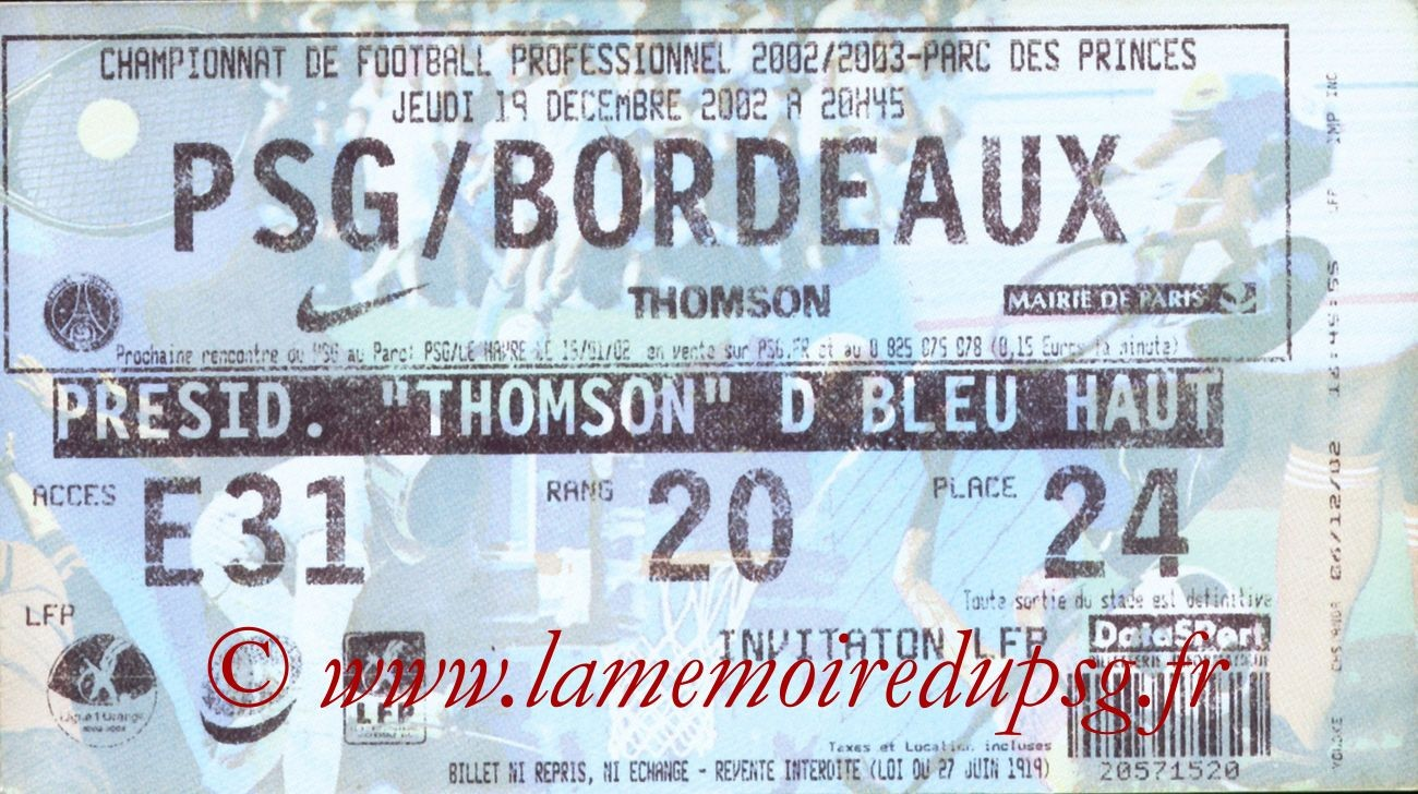 2002-12-19  PSG-Bordeaux (20ème L1)bis