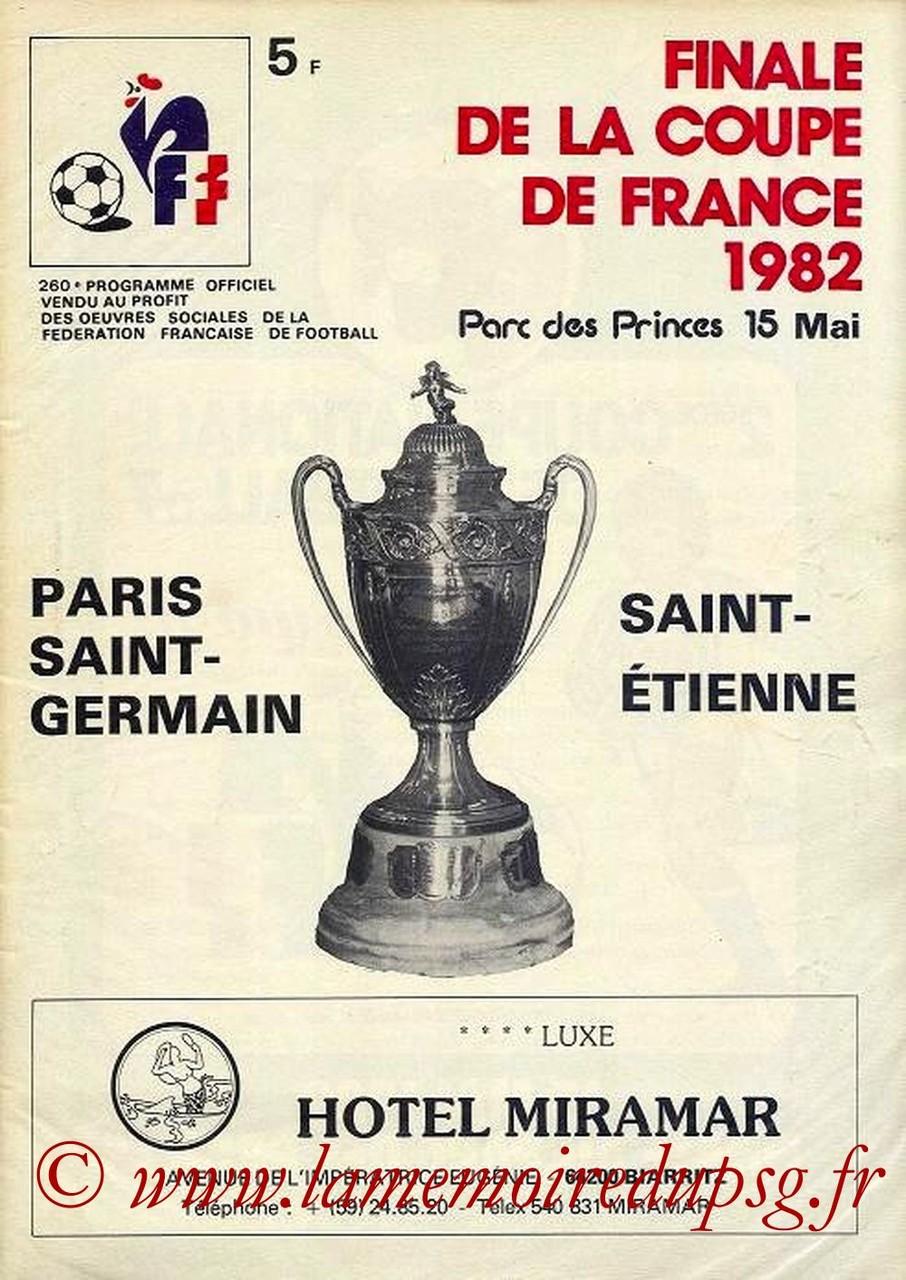 1982-05-15  PSG-Saint Etienne  (Finale CF, Programme Officiel FFF)