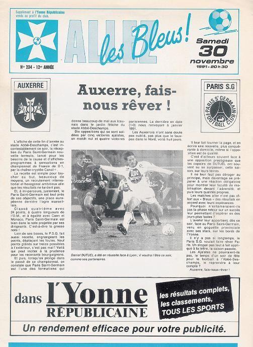 1991-11-30  Auxerre-PSG (20ème D1, Allez les Bleus N° 234)