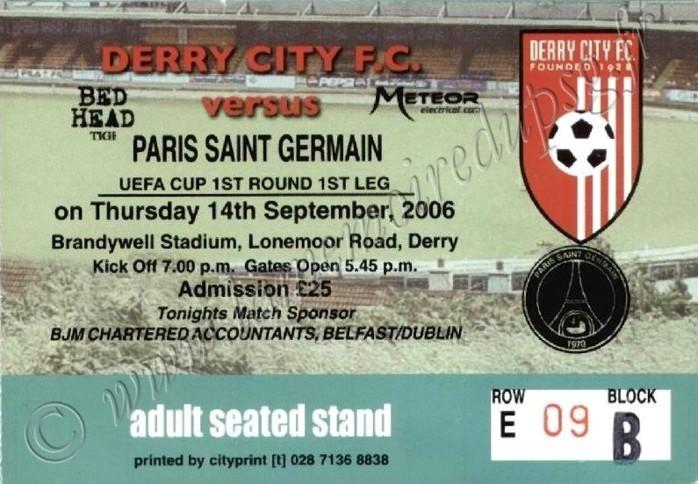 2006-09-14  Derry City FC-PSG (64ème finale Aller C3)