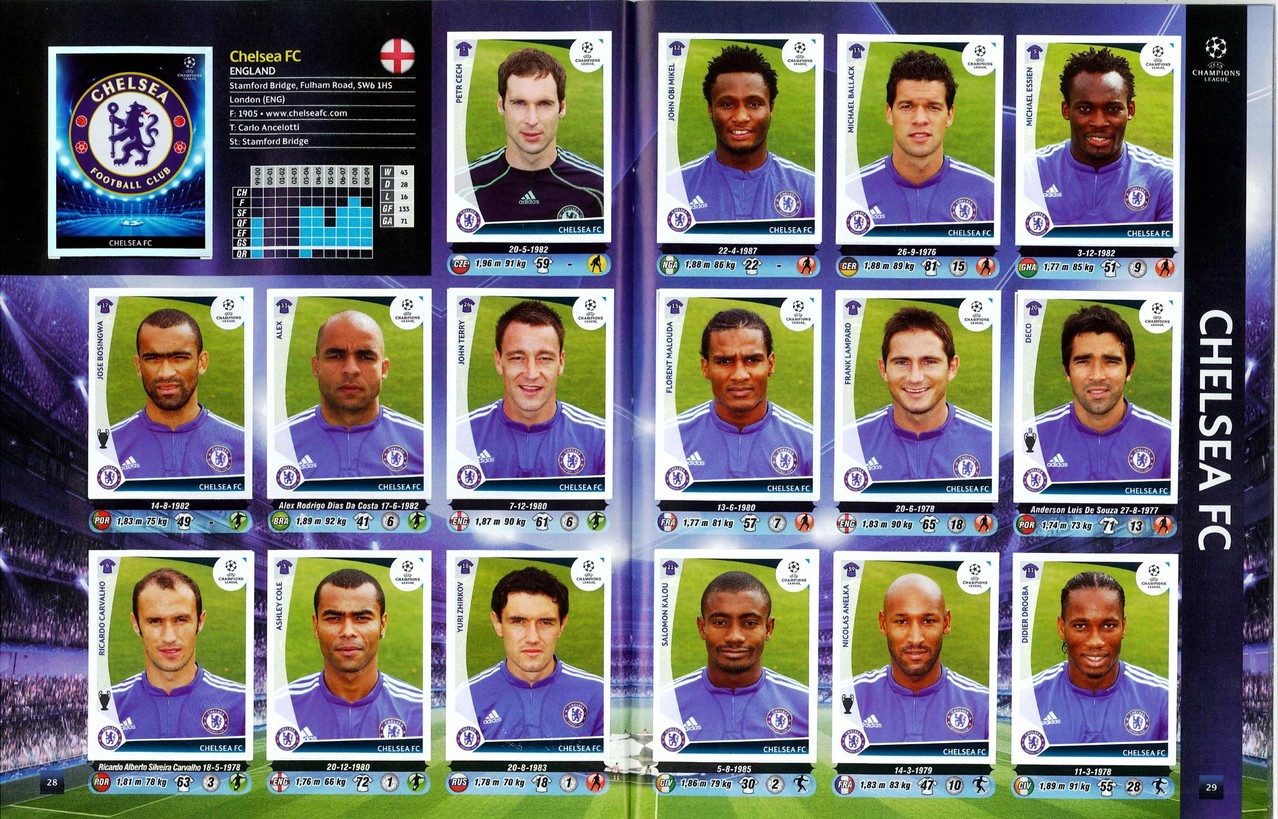 2009-10 - Panini Champions League - Pages 28 et 29 - Chelsea FC