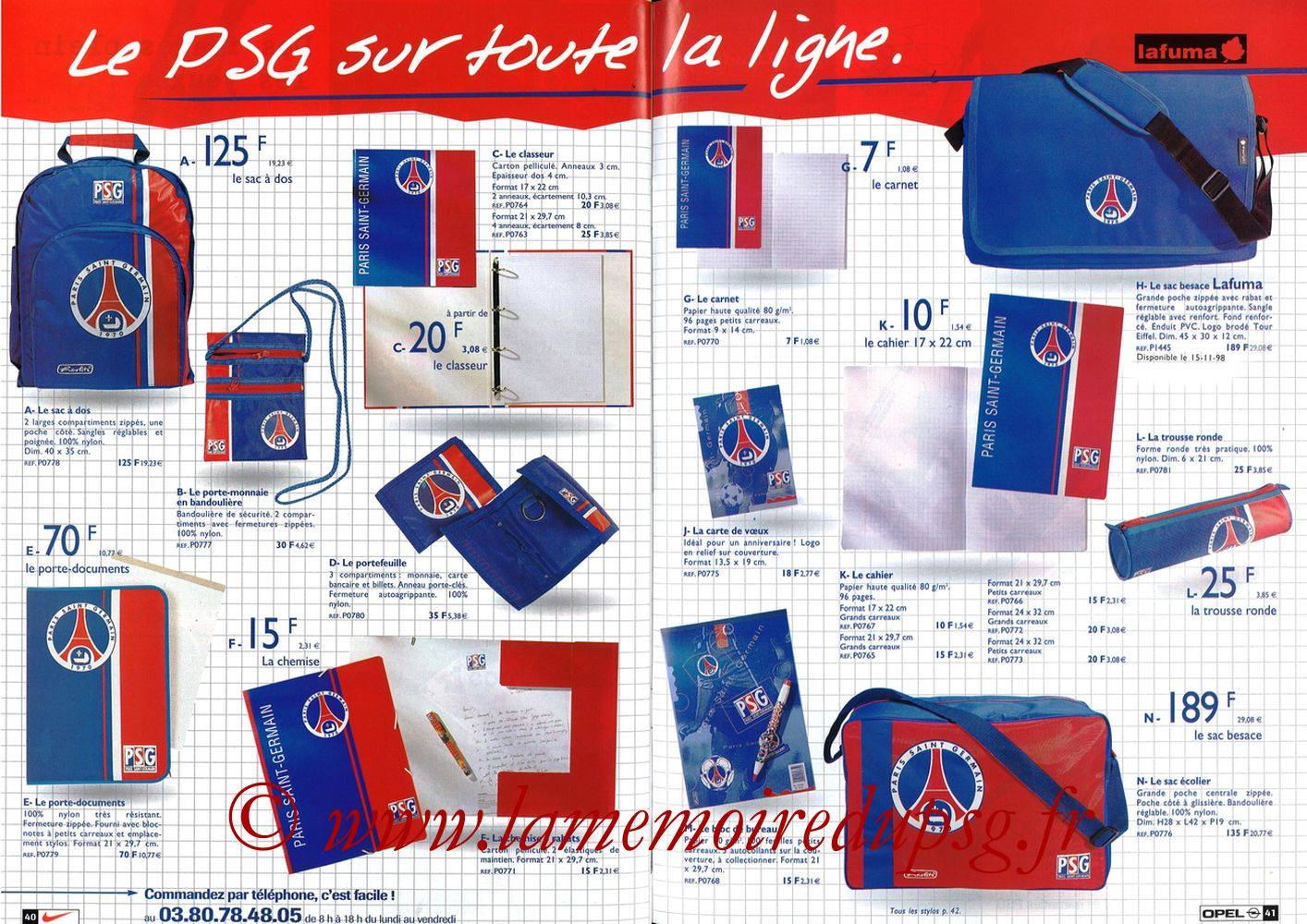 Catalogue PSG - 1998-99 - Pages 40 et 41