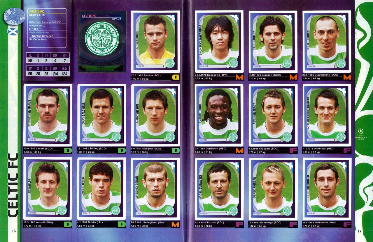2007-08 - Panini Champions League - Pages 16 et 17 - Celtic FC