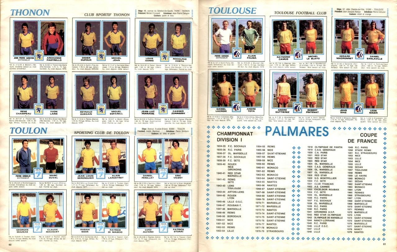1979-80 - Panini 1980 - Pages 60 et 61 - CS Thonon et SC Toulon + Toulouse FC et Palmares