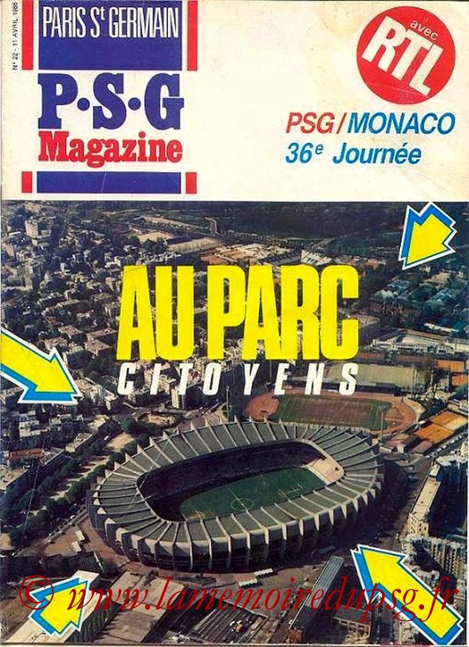 1986-04-11  PSG-Monaco (36ème D1, Paris St Germain Magazine N°22)